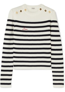 Miu Miu Embroidered Striped Ribbed Wool Sweater