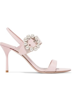 Miu Miu Faux Pearl-embellished Patent-leather Slingback Sandals