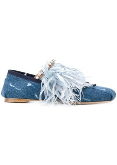 Miu Miu feather-trimmed denim ballerina shoes