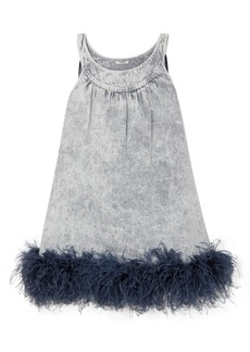 Miu Miu Feather-trimmed Embroidered Denim Mini Dress