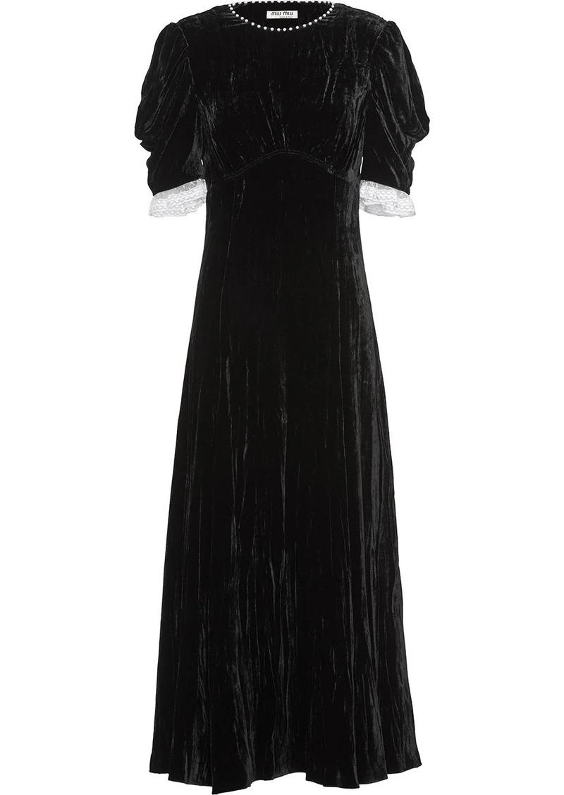 Miu Miu flared pearl embellished dress