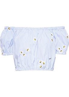 Miu Miu floral embroidered crop top