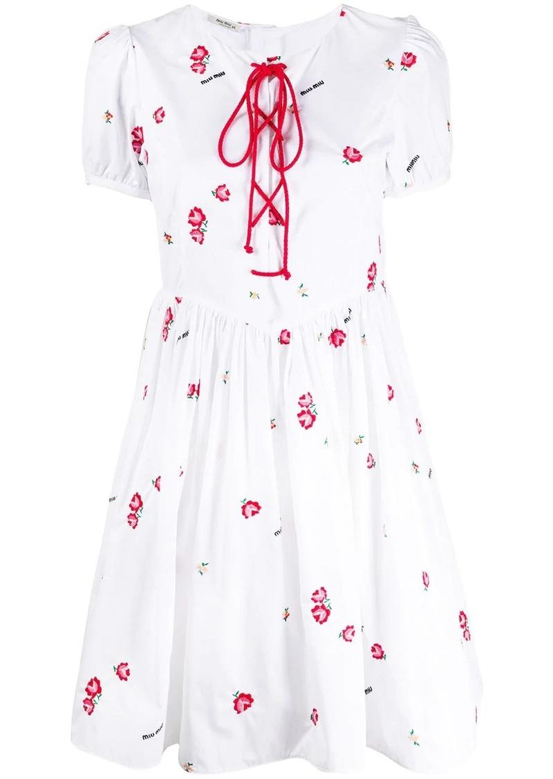 Miu Miu floral-embroidered lace-up mini-dress