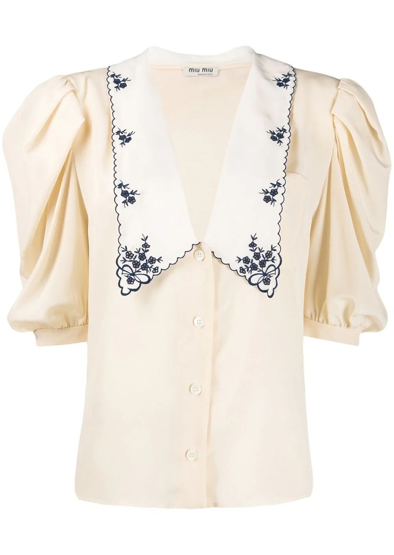 Miu Miu floral embroidery flare blouse
