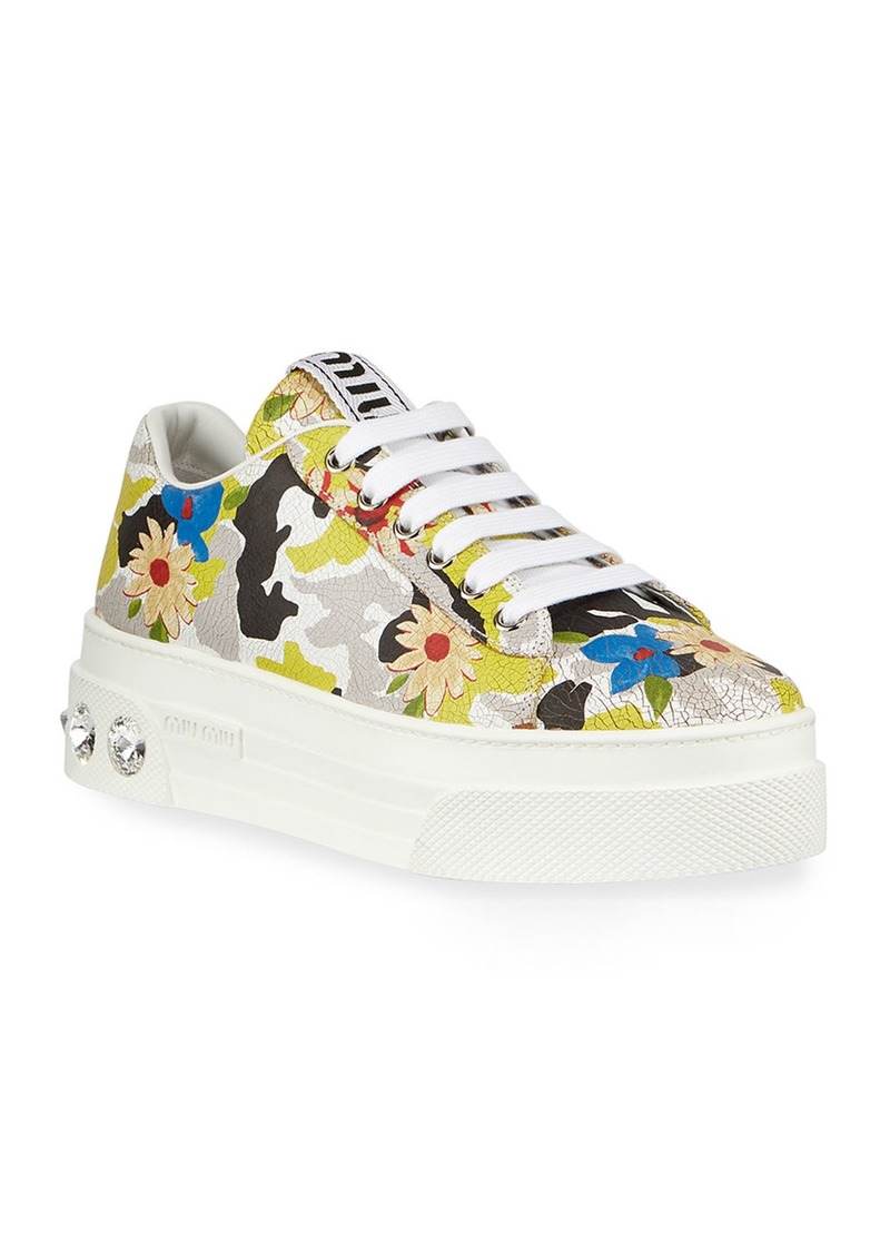 Miu Miu Floral Jeweled-Heel Sneakers