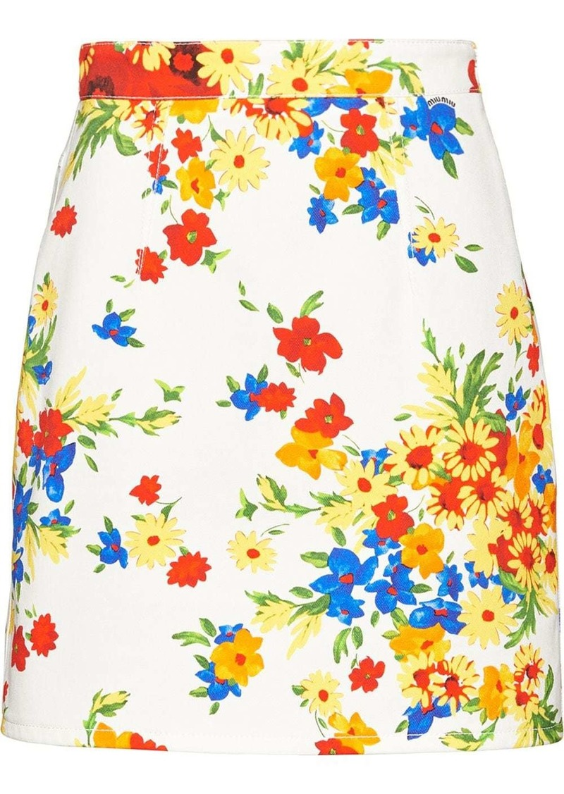 Miu Miu floral mini skirt