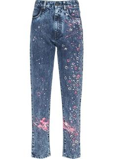 Miu Miu floral paint splatter jeans