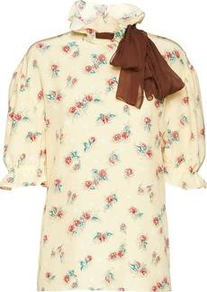 Miu Miu floral print bow detail blouse
