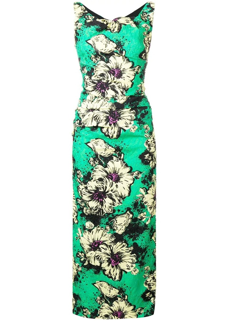 Miu Miu floral print fitted dress