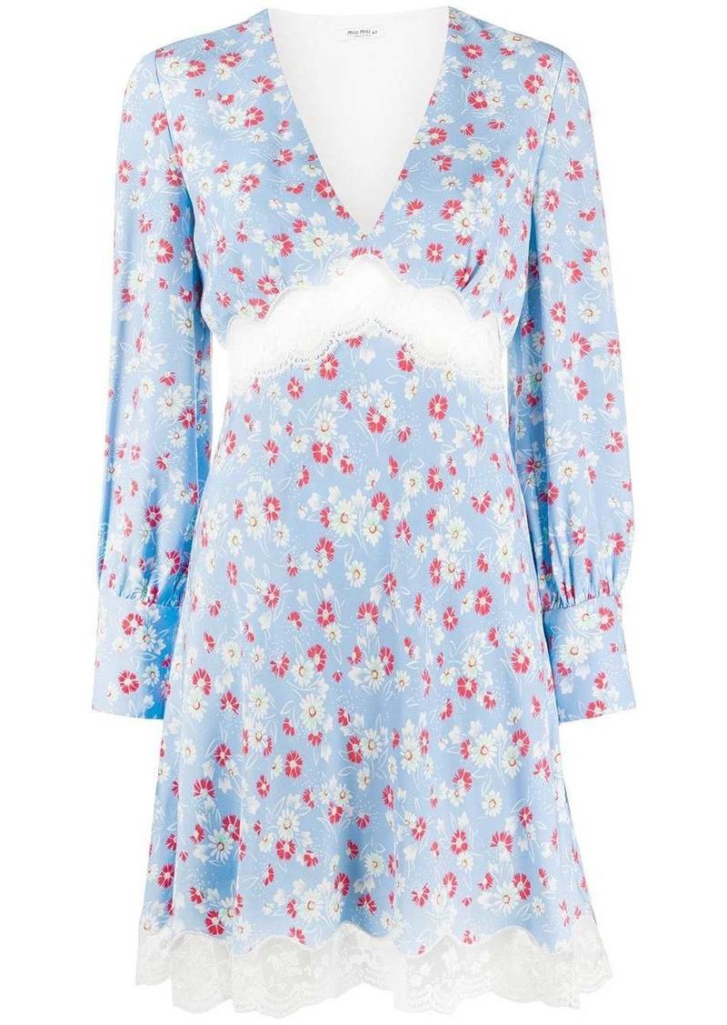 Miu Miu floral print lace insert dress