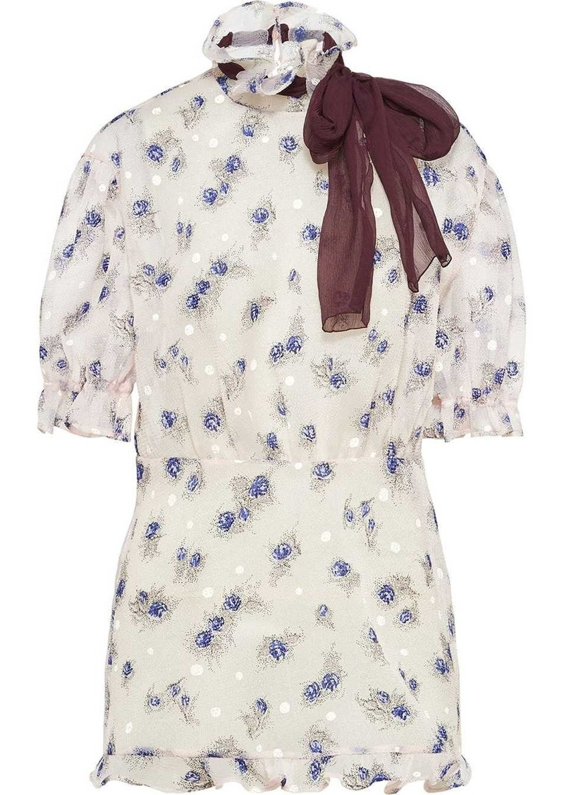 Miu Miu floral ribbon detail blouse