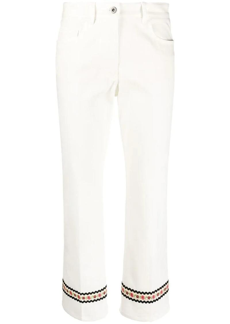 Miu Miu flower detailed cropped jeans