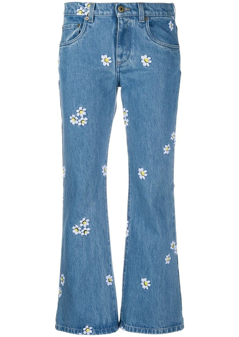 Miu Miu flower embroidered cropped jeans
