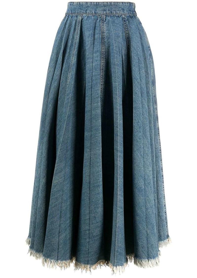 Miu Miu frayed denim skirt