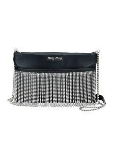 Miu Miu Fringe Crystal Napa Crossbody Bag