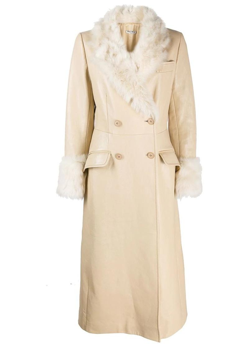 Miu Miu fur-lined double-breasted coat