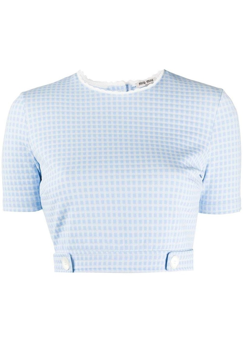 Miu Miu gingham seersucker cropped top