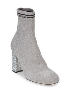 Miu Miu Glitter Block Heel Sock Booties