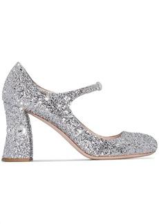 Miu Miu glitter-effect Mary Jane pumps