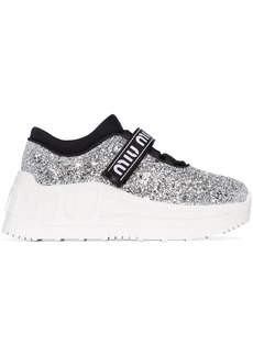 Miu Miu glitter flatform sneakers