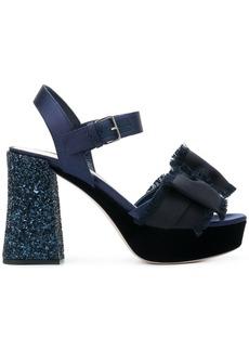 Miu Miu glitter heel bow sandals