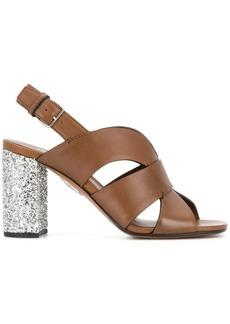 Miu Miu Glitter heel leather sandals