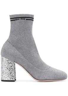 Miu Miu glitter heel lurex sock boots
