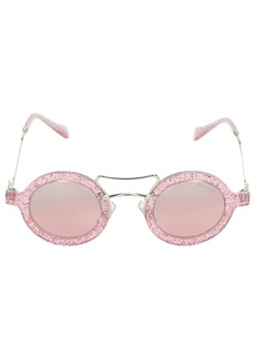 Miu Miu Glittered Round Sunglasses