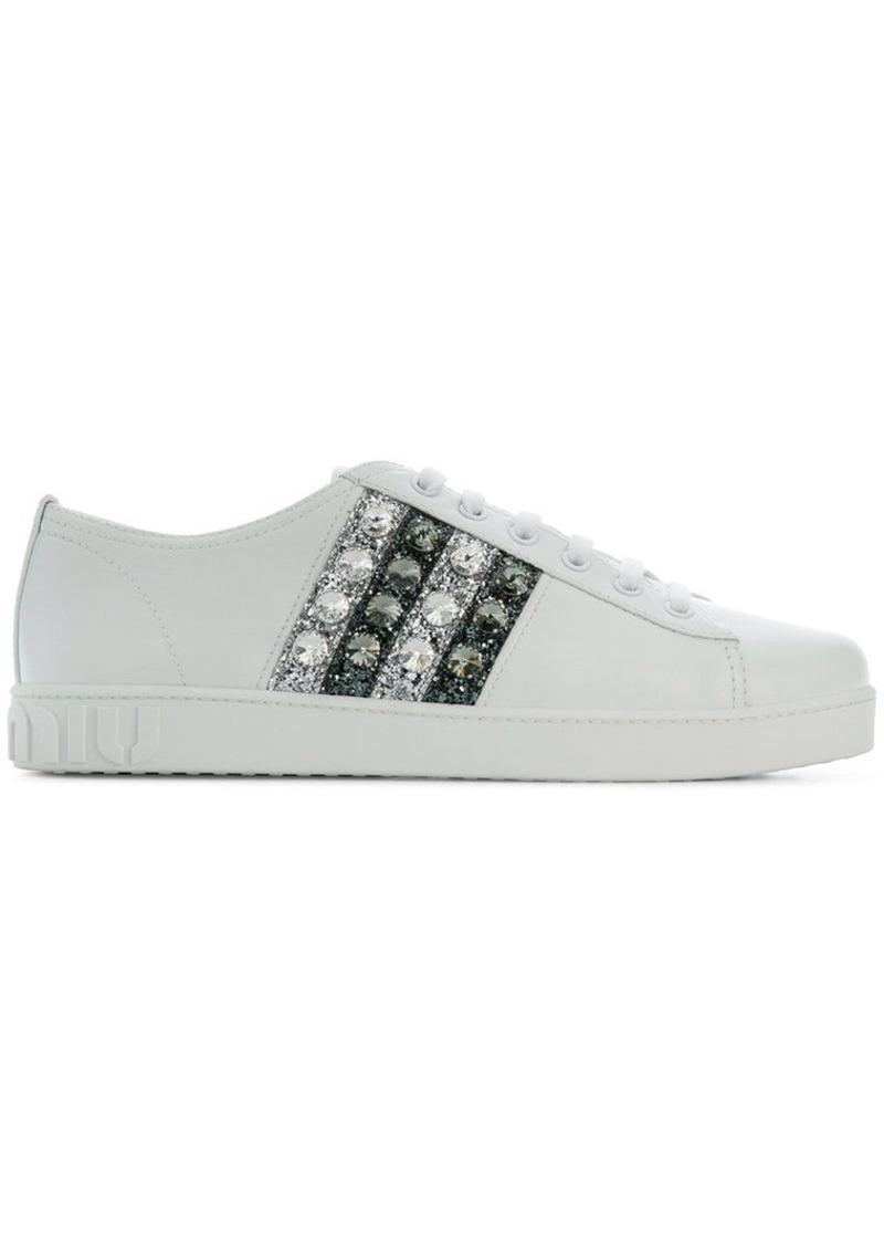 Miu Miu glittery stripes lace-up sneakers