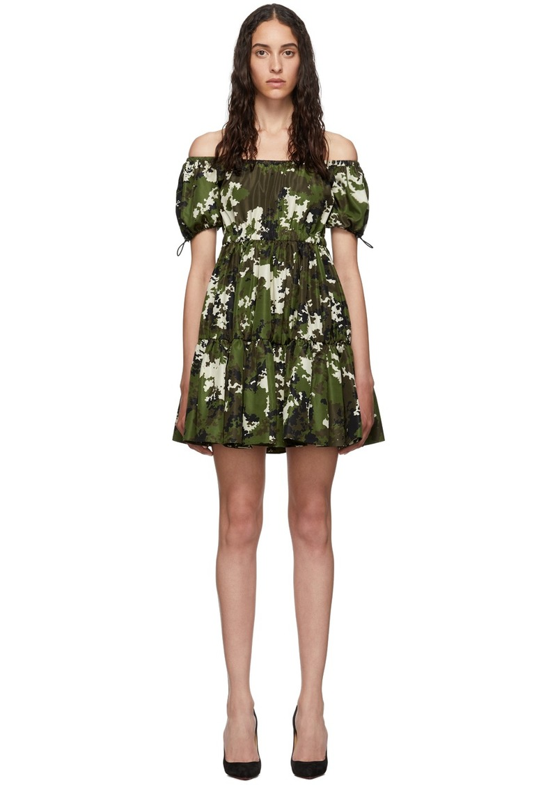 Miu Miu Green & Brown Camo Taffeta Dress