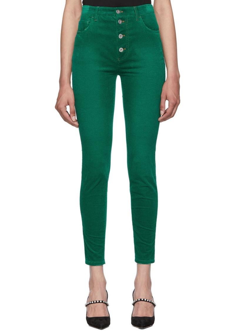 Miu Miu Green Corduroy Skinny Jeans