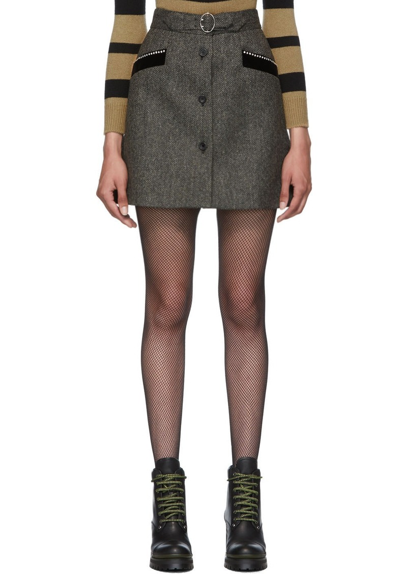 Miu Miu Grey Plaid Diamond Miniskirt