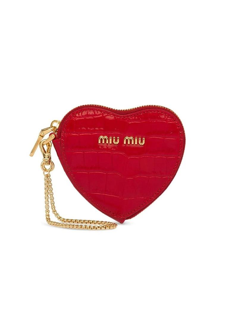 Miu Miu heart logo keychain