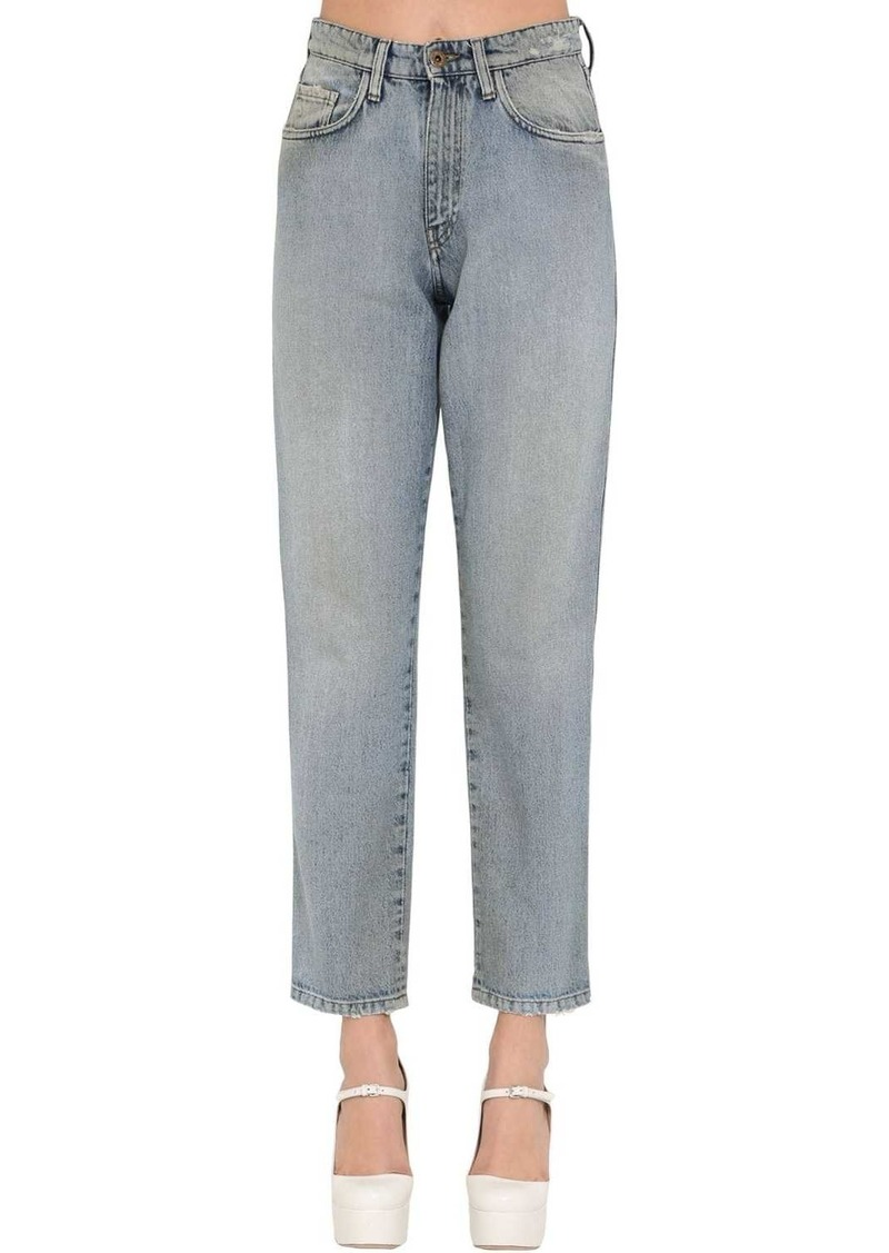 Miu Miu High Waist Cotton Denim Pants