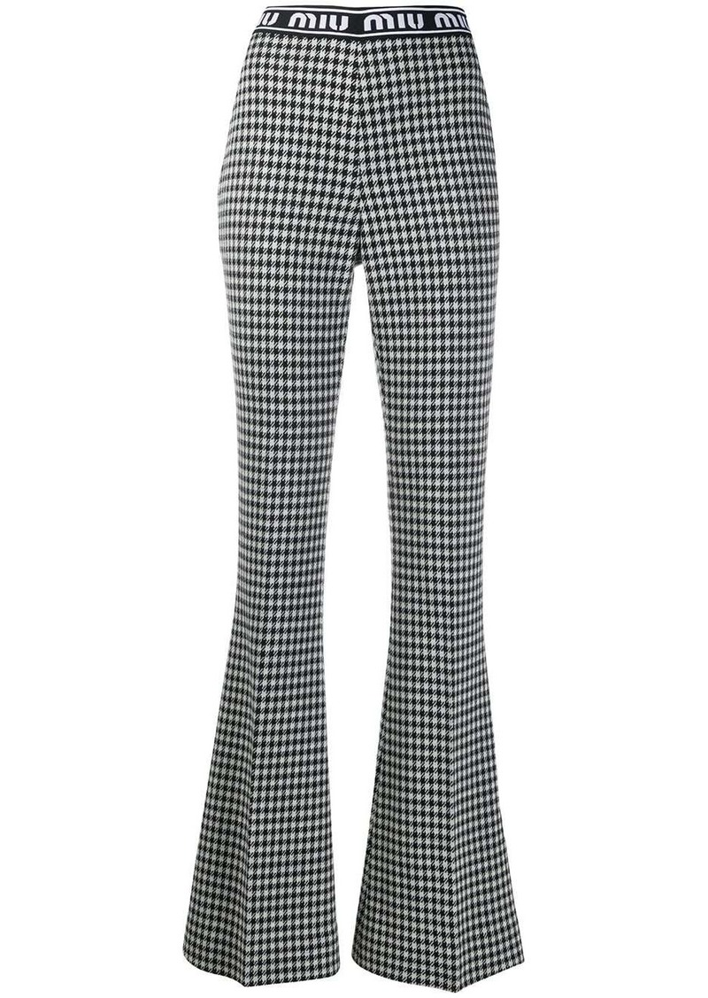 Miu Miu houndstooth flared trousers