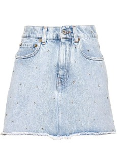Miu Miu Iconic crystal-embellished denim skirt