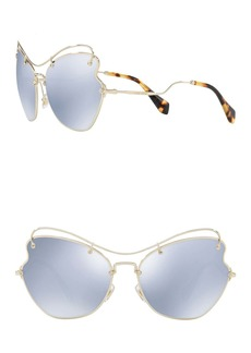 Miu Miu Irregular 61mm Aviator Sunglasses