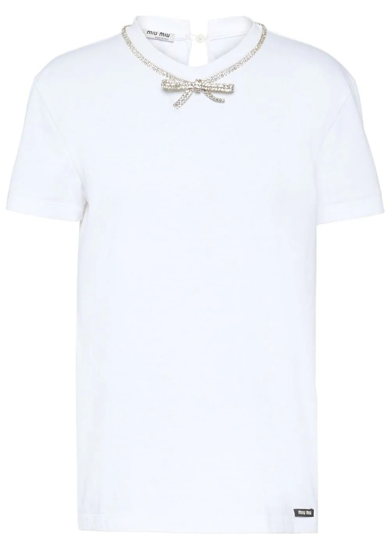 Miu Miu jersey T-shirt with bow