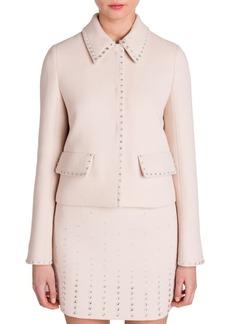 Miu Miu Jewel-Trim Cropped Wool Jacket