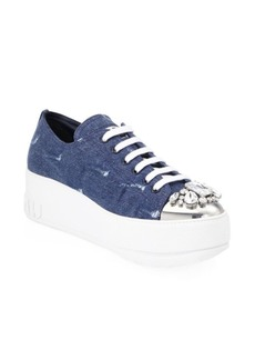 Miu Miu Jeweled Captoe Denim Platform Sneakers