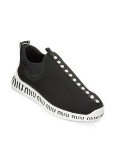 Miu Miu Jeweled Stretch Logo Sneakers