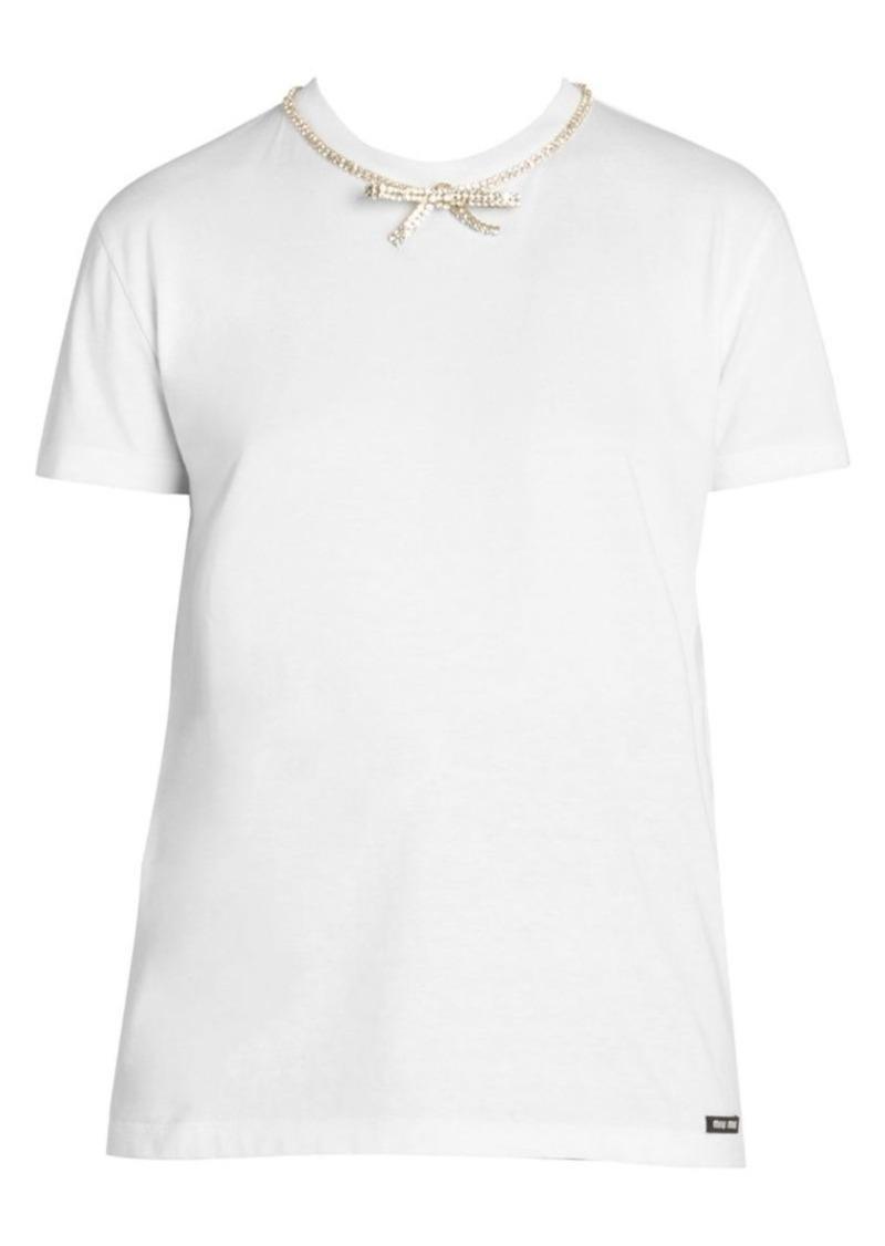 Miu Miu Jewelled Collar Cotton Tee