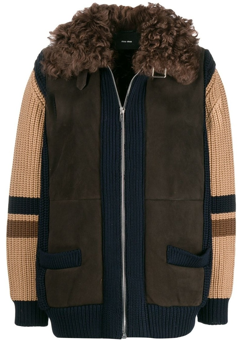 Miu Miu knitted shearling jacket