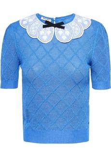 Miu Miu lace collar knit top