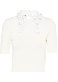 Miu Miu lace collar knitted top