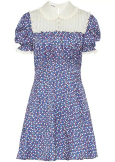 Miu Miu lace-paneled floral-print satin dress
