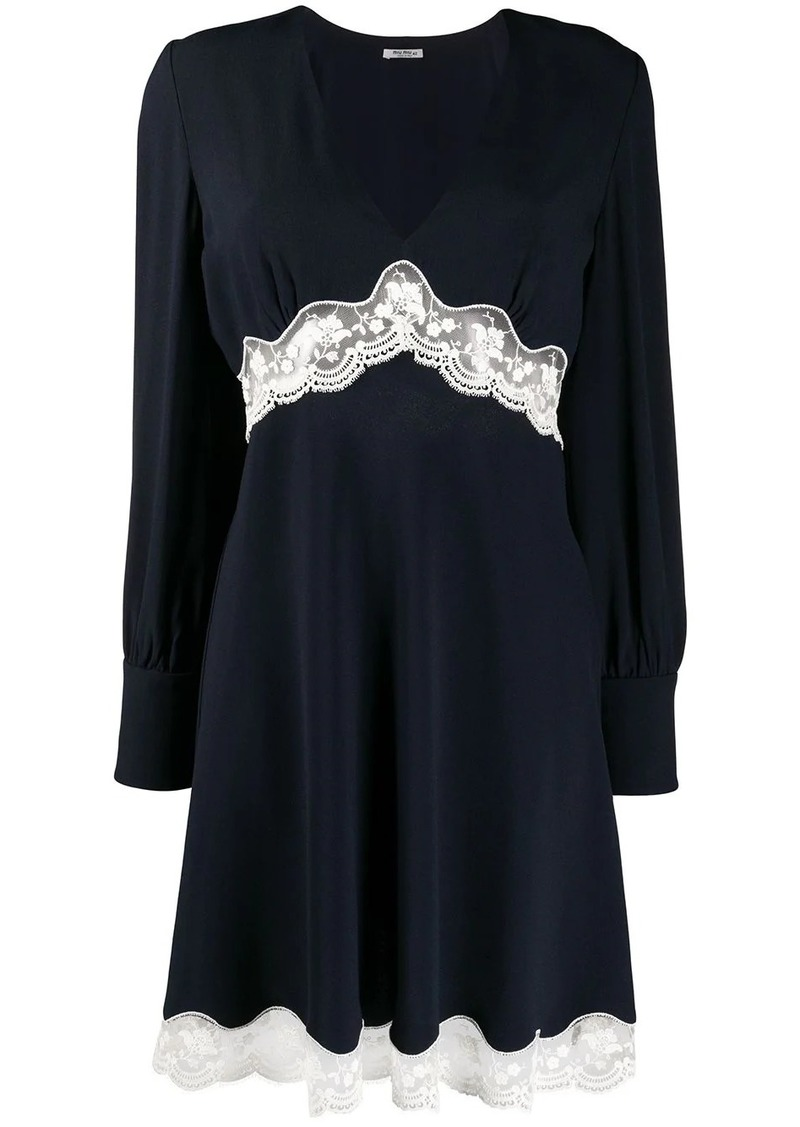 Miu Miu lace panelled V-neck dress
