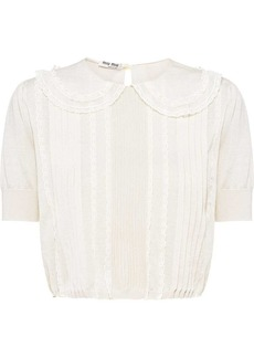 Miu Miu lace-trim cashmere knitted top