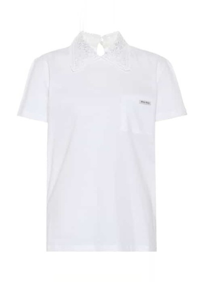 Miu Miu Lace-trimmed cotton polo shirt