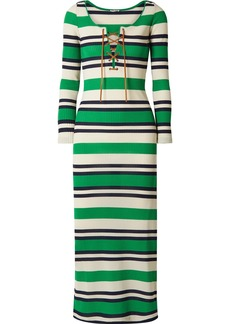 Miu Miu Lace-up Striped Ribbed-knit Midi Dress